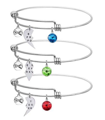 LINKY Set Of 3 Best Friends Forever Bangle Bracelet (White)