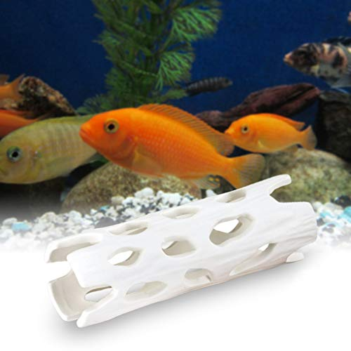 Hygger Small Fish Tank Decorations, Aquarium Ornament Cave Ceramic Hiding House for Shrimp Fish Betta Fish Accessories for 1-100 Gallon (White)