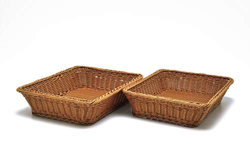 2 Pc Set of Rectangular Baskets for Tabletop or Counter Display | For Serving Bread, Fruits and Vegetables | Wicker Woven Storage Basket for Market, Spa, Salon, Bakery and Boutique Shop 16 x 12 x 3.5