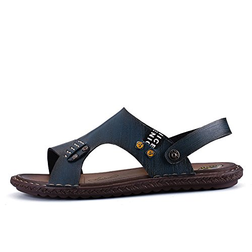 Scarpe da spiaggia antisdrucciolevoli dei pattini della pelle molle di svago di modo dei pattini dei sandali degli uomini di estate, blu, UK = 6,5, EU = 40