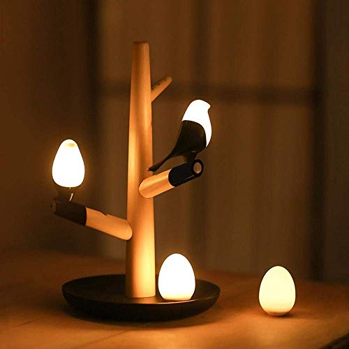 QRY Magnetic Bird & Tree Branches Design LED Desk Lamp with Detachable Bird Silicon Gel Natural Solid Wood Lamp for Bedroom Living Room Decoration Perfect Decoration ()