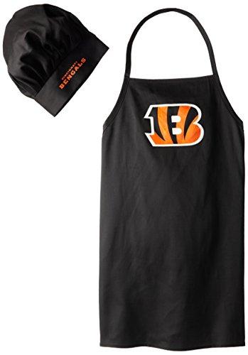 NFL Cincinnati Bengals Chef Hat and Apron Set, Black, (Cincinnati Bengals Set)