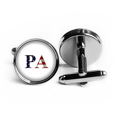 United States State Initials Flag Pennsylvania PA Rhodium Plated Silver Cufflinks by Elysian Workshop