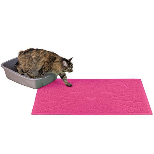 Furhaven Pet Food Mat   Tiger Tough Tidy Paws Litter & Food Mat, Princess Pink