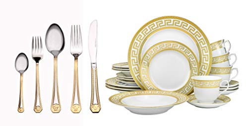 Euro Porcelain 40-piece Dining Flatware Set w/Greek Key Medusa Pattern 24 kt Gold Ornament, HQ Dining Service for 4 (Salad Athena Plate)