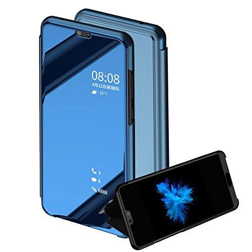 TaiY Ultra Delgado Translúcido Espejo con Función Kickstand Flip Funda Carcasa Case + Cristal Templado para XiaoMi RedMi...