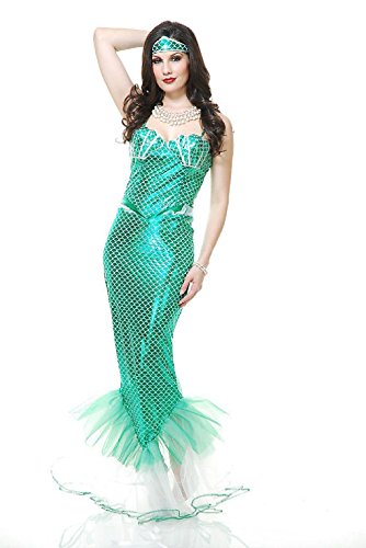 Sailor Dance Recital Costumes (OvedcRay Adult Womens Emerald Mermaid Costume Sexy Green Ariel Mermaid Costumes Dress)