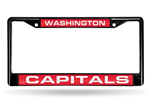 NHL Washington Capitals Laser Cut Inlaid Standard Chrome License Plate Frame, Black