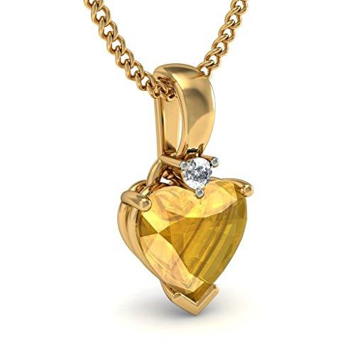 14K Or jaune 0,02ct tw Round-cut-diamond (IJ | SI) et citrine Pendentif