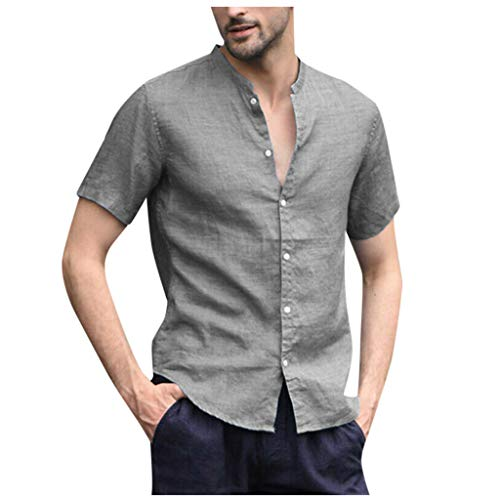 (TOPUNDER Men's Baggy Cotton Linen Solid Short Sleeve Button Retro T Shirts Tops Blouse Gray)