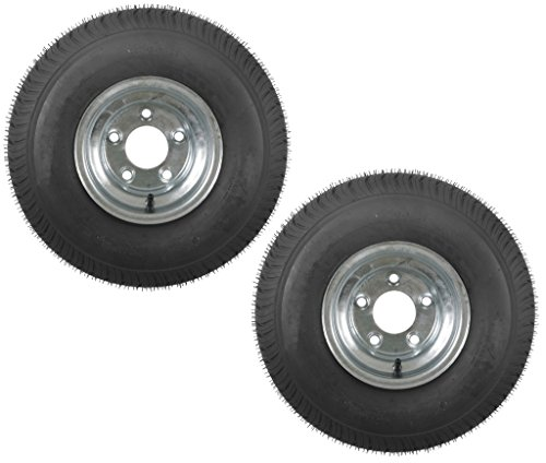 eCustomRim 2-Pack Trailer Tires On Galvanized Rims 18.5-8.5-8 215/60-8 Load C 5 Lug