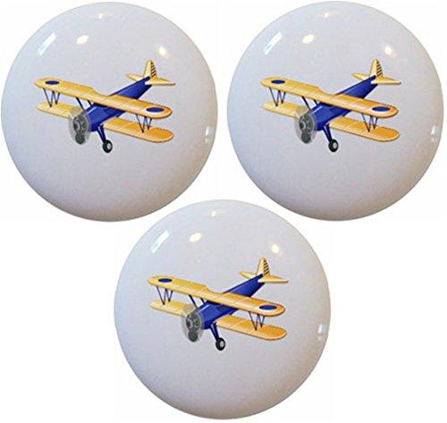 Plane Knob Drawer (Blue Airplane Biplane Ceramic Cabinet Drawer Pull Knobs (Set of 3 Knobs))
