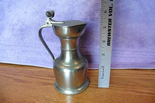VINTAGE ROYAL HOLLAND PEWTER CREAMER PITCHER MADE IN HOLLAND HINGED W/ 2 ACORNS ()