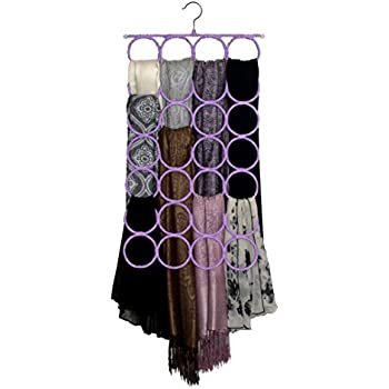 Scarf & Tie Hanger, Closet Organizer, the No Snags Best Space Saving Hanger for Scarves, Pashminas, Infinity Scarves & Accessories (1-Light Purple)