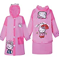 Hello Kitty Baby Children Cartoon Kids Girls Rainproof Long Raincoat Rain Suit Poncho - Toddler S M L XL XXL (M)