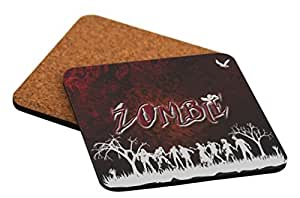 "Rikki Knight ""Zombies Grey Silhouettes on Red Design"" Square Beer Coasters"