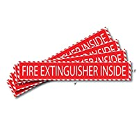 """Fire Extinguisher Inside Sticker (4 Pack) 1.5"""" x 9"""" Decal Sign Self Adhesive for Trucks or Equipment"""