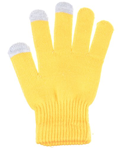 Yellow Gloves (BYOS Unisex Winter Convenient Texting Stretch Magic Gloves for All Touchscreen Devices Smartphone & Tablet Three Fingertips Conductive Tech (Yellow))