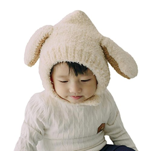 Baby Hat, CieKen Baby Boys Girls Cute Warm Soft Cotton Knitting Ear Beanie Hats (White)