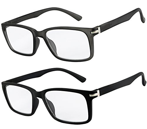 Reading Glasses Set of 2 Fashion Quality Spring Hinge Readers Men and Women Glasses for Reading +1.25