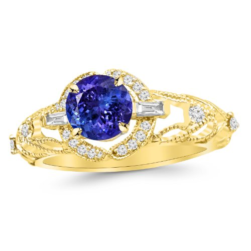 14K Yellow Gold Vintage/Antique Baguette and Round Diamond Engagement Ring with a 1 Carat Tanzanite AAA Heirloom Center - Tanzanite Round Diamond Ring
