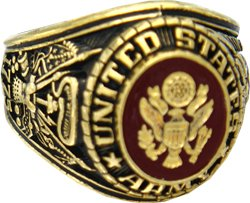 Brass 18k Gold Electroplated (US Army 18k Gold Plated Ring (8))