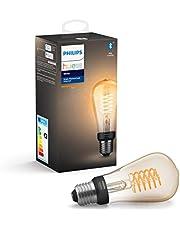 Philips Hue Witte gloeidraad Enkele slimme LED ST64-lamp [E27 Edison-schroef] met Bluetooth, vlamwit, werkt met Alexa, Google Assistant, Apple HomeKit, Microsoft Cortana