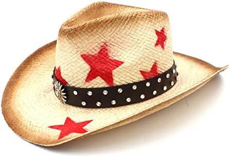 09483e2190ce2 Tanxinxing Mujeres Hombres Paja Armadura Lady Dad Sombrero Hombre Vaquera Western  Cowboy Hat with Punk Leather Band Hecho a Mano (Color   Natural