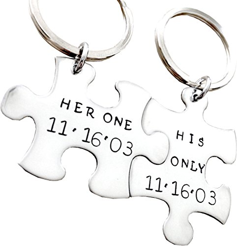 His One Her Only puzzle piece - Stainless Steel - Hand stamped metal key chain SET OF TWO