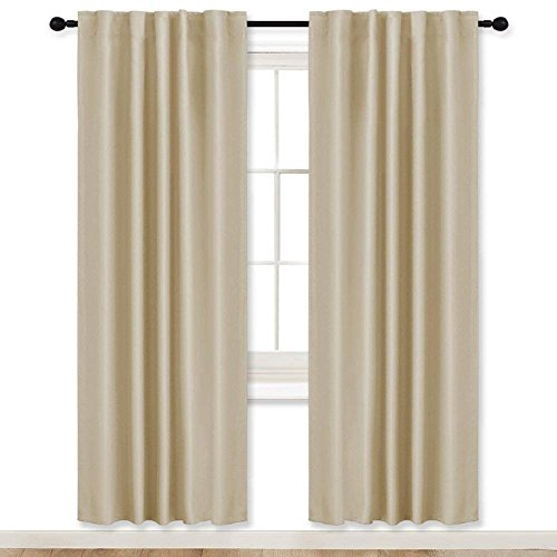 RYB HOME Room Darkening Thermal Blackout Curtains, Window Curtains Draperies Back Tab/Rod Pockets for Girls' Bedroom/Living Room/Shift Worker, Wide 42