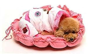 BIG PET PUPPY DOG CAT SOFT PET BED SLEEPING BAG WARM CUSHION HEART PILLOW GHG-0038 red
