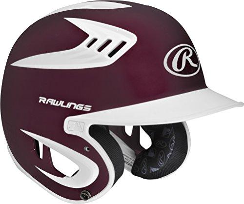 Maroon Baseball Batting Helmet (Rawlings 80 MPH Two Tone Translucent Matte Batting Helmet, Maroon, Senior)