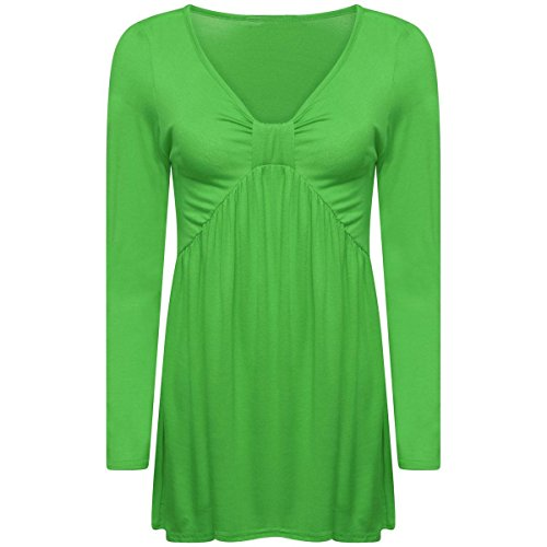 Ruched Bow Jade Long Flared Womens Ladies Swing Tee Green Tunic Front Sleeve Top Knot Dress wYnTZHq
