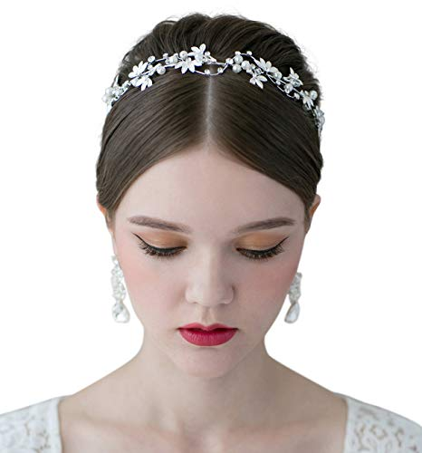 SWEETV Bridal Pearl Headband Silver-Leaf Crystal Bridal Headpiece Wedding Hair Accessories Jewelry Tiara for Women