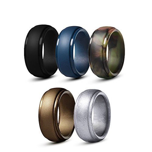 Meant2B Silicone Wedding Rings For Men- Black, Copper, Camo, Blue & Silver. Non-Toxic, Medical Grade