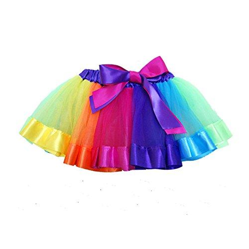 Azhido Girls Layered Rainbow Ribbon Tutu Skirt Dance Dress Ruffle Tiered Clubwear (L / 4-8 Years, ()