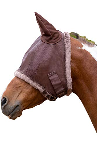 - Kensington Fly Mask with Fleece Trim and Soft Ears - Allows Full Visibility with Maximum Protection -with Double Locking System - UV Protection (L, Sorrel)