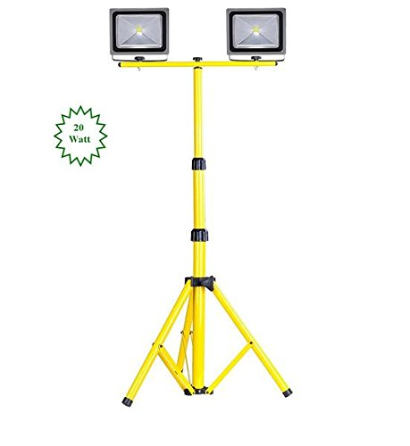 Twin MyraBec 20W CORDLESS LED Floodlights w/ Light Tower Telescoping Tripod Stand by MyraBec Trading