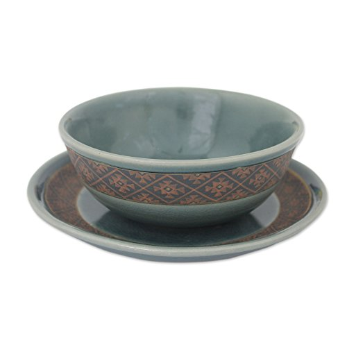 NOVICA 'Thai Weave Inspiration' Celadon Ceramic Bowl And Plate Set by NOVICA