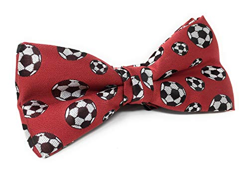 Urban-Peacock Men's Banded Bow Ties with Gift Box (Soccer Balls - Red)