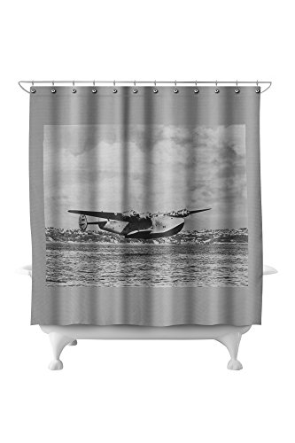 Boeing 314 China Clipper Over Water Airplane Photograph (71x74 Polyester Shower Curtain) ()