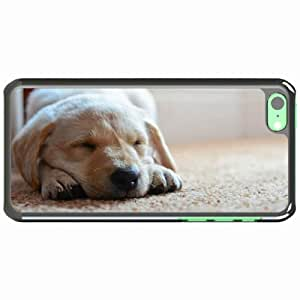 iPhone 5C Black Hardshell Case dog puppy snout sleep Desin Images Protector Back Cover