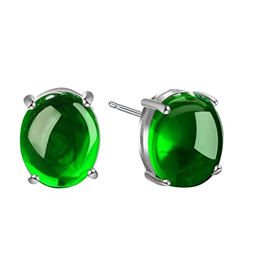 - AUMRET Pure White Copper Ruby Chalcedony Woman Claw Earrings (Green)
