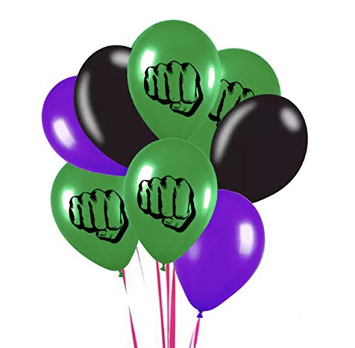 The Incredible Hulk Theme Emblem Party Latex 8 Piece Balloon Set 12 Inch]()