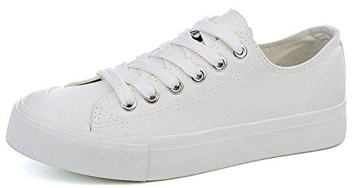 Idifu Donna Resistente Allacciata Sneakers Basse In Tela Piatte Da Ginnastica Scarpe Da Skateboard Bianche