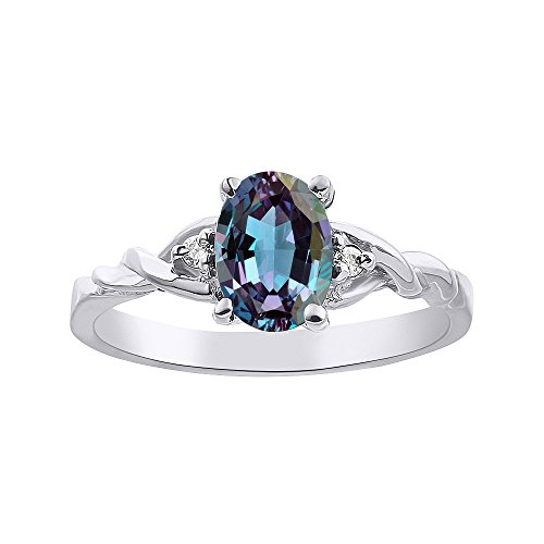 Diamond & Simulated Alexandrite Ring Set In Sterling Silver (Simulated Alexandrite Ring)