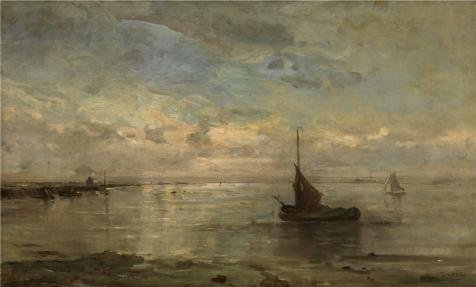 Oil Painting 'Louis Artan De Saint-Martin - Sea View, 19th Century' 12 x 20 inch / 30 x 51 cm , on High Definition HD canvas prints is for Gifts And Bath Room, Dining Room And Garage decor, prints