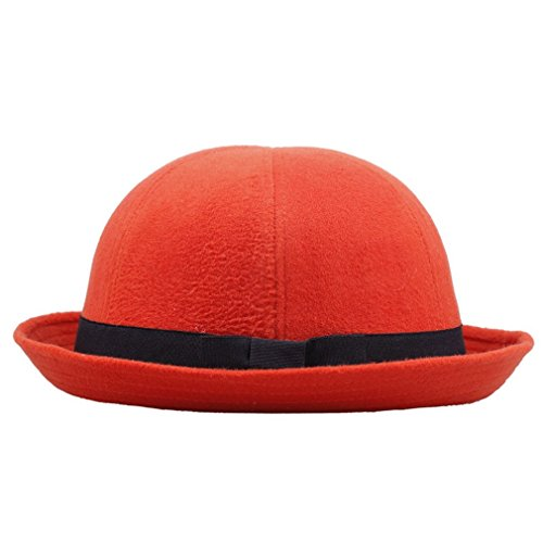 Toyobuy Retro Women Warm Wool Watermelon Cloche Cap Bowler Derby Hat Red