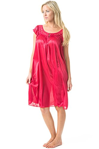Casual Nights Women's Satin Nightgown Embroidered Lace Cap Sleeve - Red - Medium