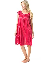 Casual Nights Women's Satin Lightweight Nightgown Embroidered Lace Cap Sleeve